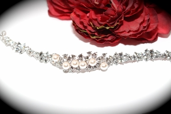 Romantic  crystal and off white pearl wedding bracelet - SALE