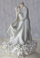 Romantic first kiss vintage pearl rose cake topper - SALE