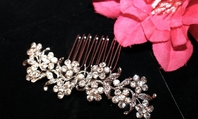 Romantic floral rhinestone hair comb - SPECIAL