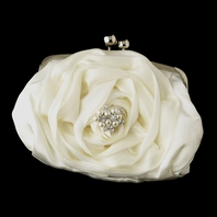 Romantic floral wedding purse w/ crystal pearl accent - SALE