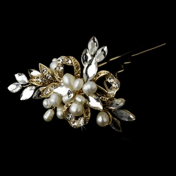 Romantic freshwater pearl and crystal bridal pin - SALE