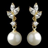 Romantic gold ivory pearl wedding earrings