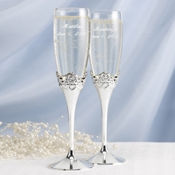 Romantic Happily ever after flutes and server set - Personalized