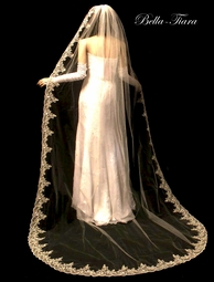 Romantic royal length lace beaded cathedral veil - SPECIAL