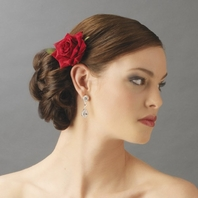 ROSALBA - Red or Ivory Rose Flower hair clip - SALE!!