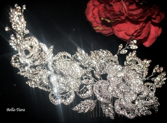 Rosalia - ROYAL COLLECTION - stunning swarovski crystal rose hair comb
