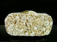 Gold swarovski rose crystal clutch purse - SPECIAL