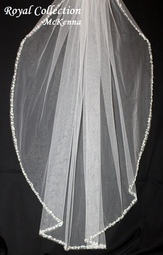 Royal Collection - McKenna Crystal beaded edge cathedral wedding veil - SPECIAL