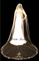 FREE BLUSHER - Dazzle Collection -Romantic and elegant beaded crystal edge wedding veil