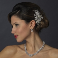 Marla - Antique Silver Crystal Flower Bridal Hair Comb - SALE