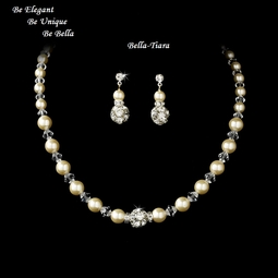 Sanjia - NEW ELEGANT crystal and pearl bridal necklace set - SALE!!