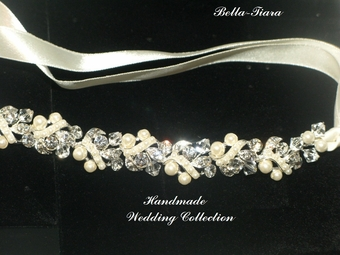 Sarafina - Beautiful crystal ivory pearl satin ribbon wedding headband - SPECIAL