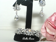 Sarahann - High End CZ bridal bracelet and earring set - GREAT PRICE