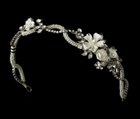 Selena - Antique silver floral bridal headband - SALE!!