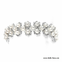 Sierra - Sparkling pearl and rhinestone wedding bracelet - CLARANCE one left