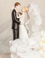 Silver and White Bride and Groom with Vintage Glitter Flower Wedding Cake Topper