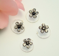 Silver/Black/Platinum Floral Hair Accents Twist In's<br><i>Set of  12</i>
