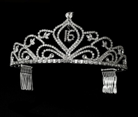 Silver Clear Sweet 16 Tiara