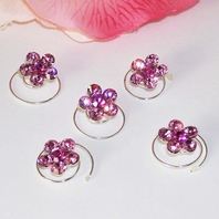 Silver/Fuschia Floral Hair Accents Twist In's <be><i> Set of 12</i>