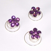 Silver/Light Amethyst Floral Hair Accents Twist In's<br><i>Set of 12<i/>