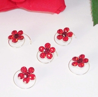 Silver/Red Floral Hair Accents Twist In's<br><i>Set of 12</i>