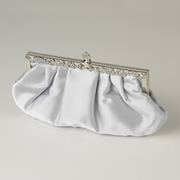 Silver Satin Evening Bag Vintage Frame - SALE