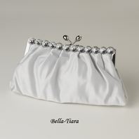 Silver Satin Rhinestone Evening Bag