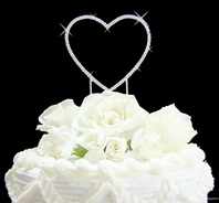 Simple Elegance Full Crystal heart cake topper