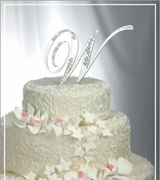 Single Partial Crystal Monogram Cake Topper-<i>Custom Fonts</i>