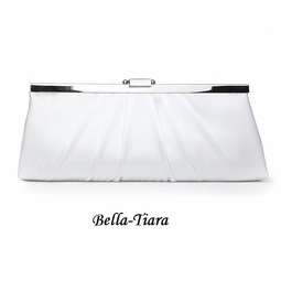 Sleek Framed White Satin Bridal Evening Bag