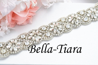 Sonia gorgeous all around crystal bridal sash - SALE