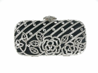 Sonia - Gorgeous couture crystal black evening bag - SALE