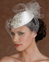 Sophisticated Designer wedding hat with cage veil - SALE