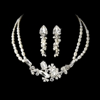 SPECTACULAR - BOLD crystal and Freshwater Pearl Necklace Set - SALE!!!