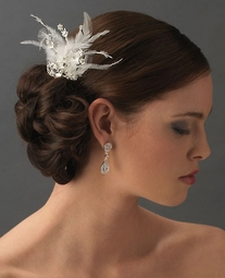 Starstruck - Rhinestone Dazzle White Feather Bridal Hair Comb  -