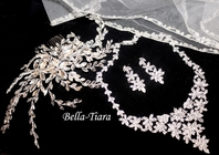 Stella - Dramatic hair vine with CZ necklace and cathedral veil rental - 3pc rental