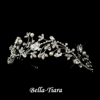 STUNNING  antique silver off white pearls crystal headband - SPECIAL