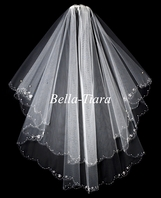Stunning couture 2-tier crystal beaded edge bridal veil - SALE!!