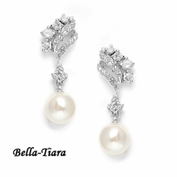 Stunning CZ Waves Wedding Earrings with Cream Pearls
