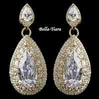 Stunning Gold Clear Teardrop CZ Drop Earrings