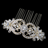 Light gold Crystal and ivory Pearl Bridal Hair Comb - SALE