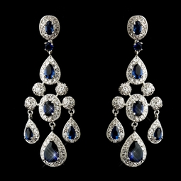 STUNNING sapphire and CZ chadelier earrings - SALE
