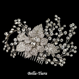NEW!! Stunning Silver Clear Rhinestone Flower & Vine Couture Comb