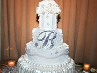 Stunning Swarovski crystal  monogram wedding cake topper - SALE