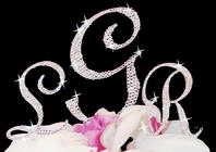 Stunning Wedding Monogram Cake Topper with swarovski crystals