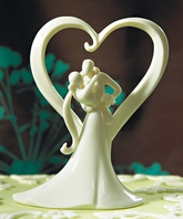 Stylish Embrace Heart Wedding Cake Topper