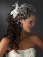 Sunday - Romantic feather flower with cage veil - SALE!!