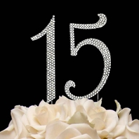 Swarovski Crystal  15  Quinceanera Number Cake Topper  - SALE
