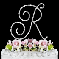 Swarovski Crystal Large initial Wedding Cake Topper - SALE