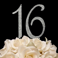 Swarovski Crystal Sweet Sixteen 16 Cake topper  - set of 2 - SALE!!